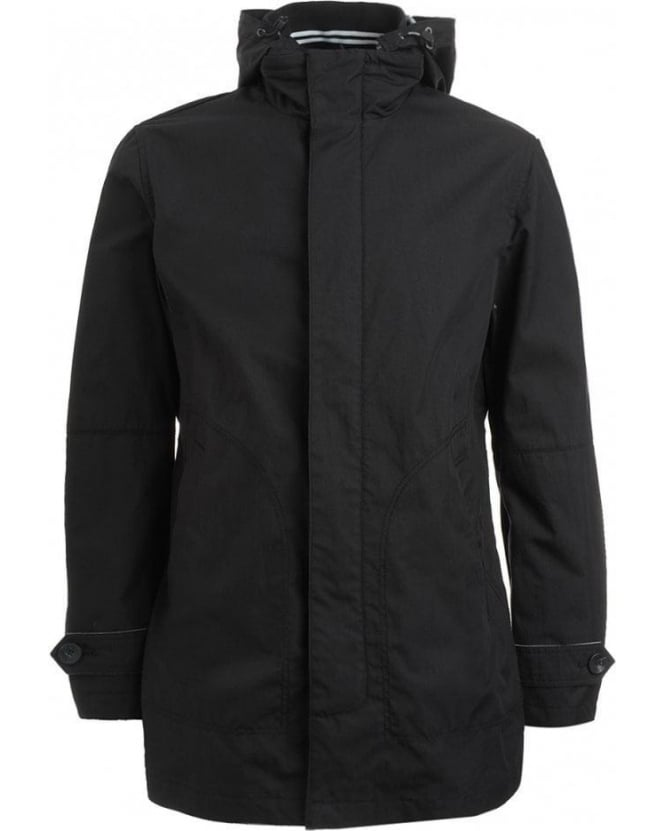 Armani Jeans Navy Blue Coat, Cotton Hooded Mac