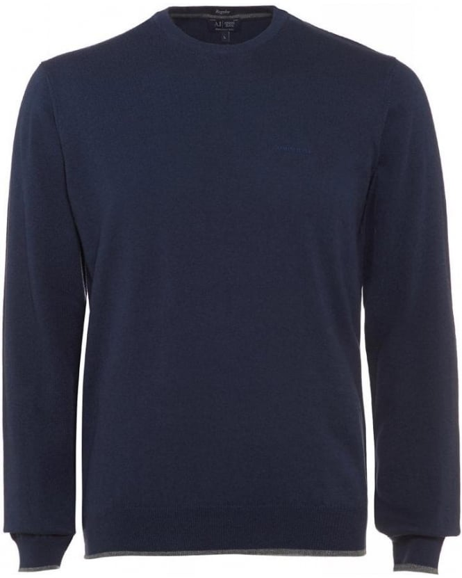 Armani Jeans Navy Blue Elbow Patch Knit Regular Fit Jumper