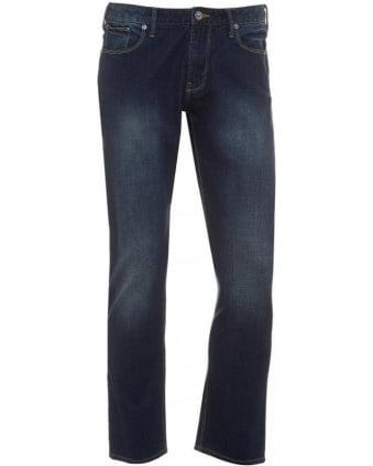 Navy Blue Faded Mid Cross Slim Fit Jeans