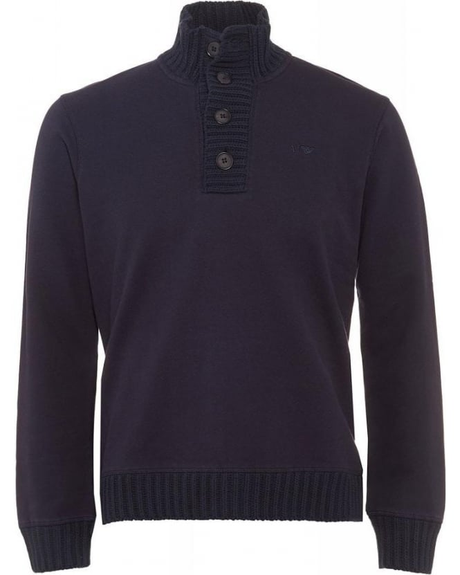 Armani Jeans Navy Blue Knitted Four Button Collar Jumper