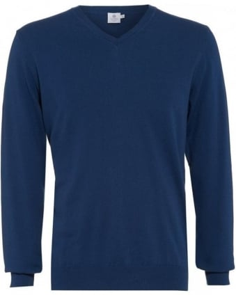 Navy Blue Long Sleeve Regular Fit V-Neck Jumper
