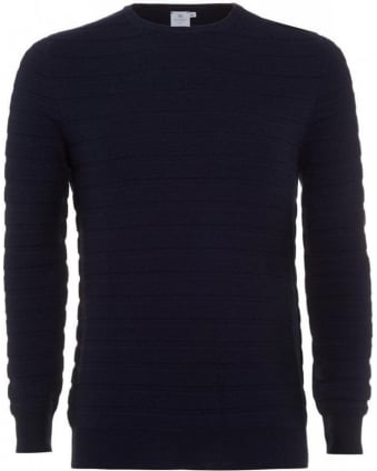 Navy Blue Merino Wool Knit, Textured Stripe Jumper