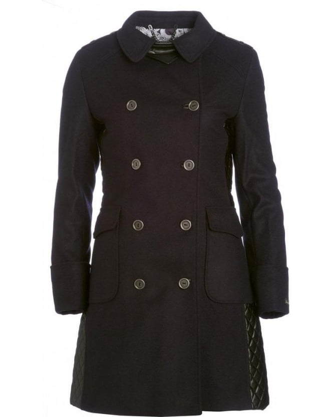 Barbour Navy Blue Military Double Breasted 'Lieutenant' Wool Coat