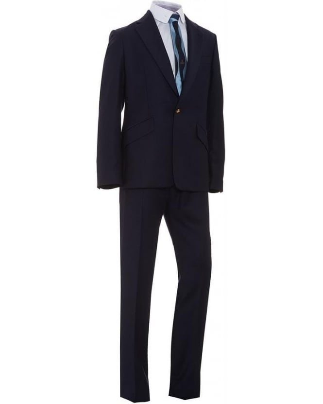 Vivienne Westwood Man Navy Blue One Button 'James' Suit