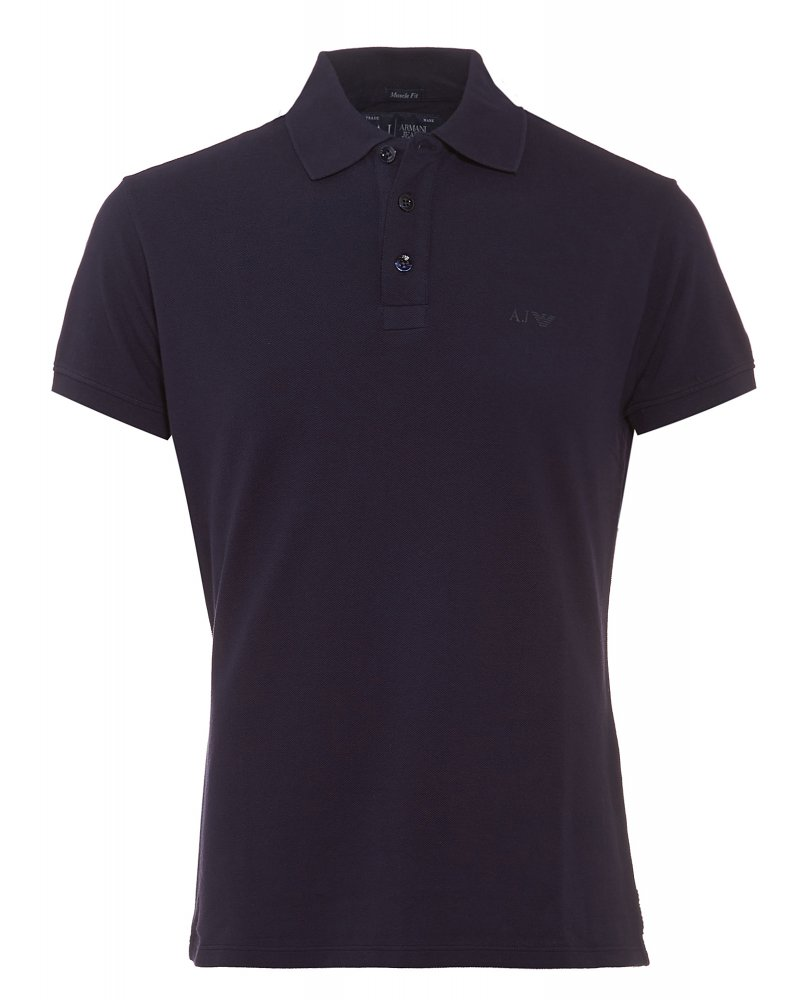 Armani jeans navy blue polo shirt muscle fit polo for Plain navy polo shirts