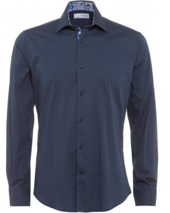 Navy Blue Slim Fit, Floral Trim Shirt