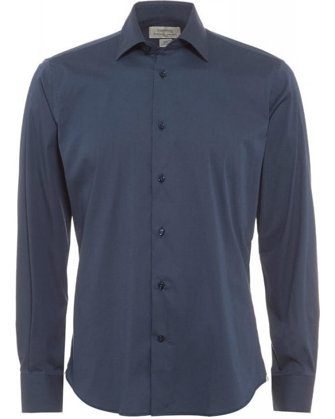 Poggianti Shirts Navy Blue Slim Fit Stretch Cotton Shirt