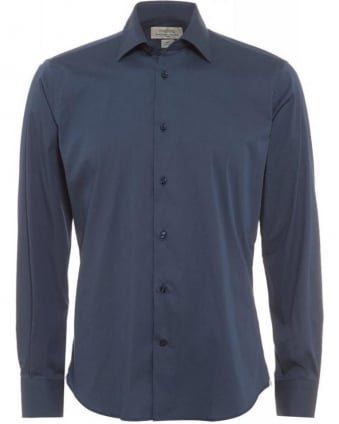 Navy Blue Slim Fit Stretch Cotton Shirt