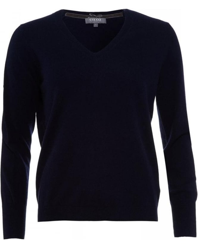 Cocoa Cashmere Navy Blue V Neck Jumper