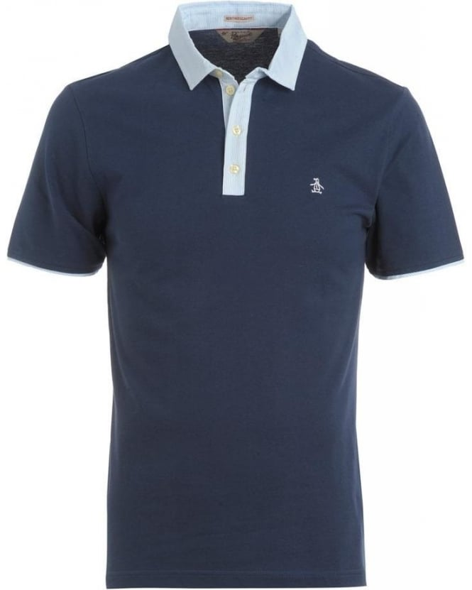 Original Penguin Navy Dress Blue Polo Contrast Stripe Trim 'Grava' Polo Shirt