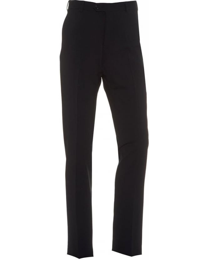 Armani Collezioni Navy Flat Front Trousers Wool Stretch Trouser