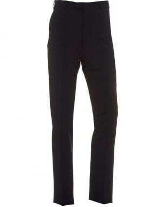 Navy Flat Front Trousers Wool Stretch Trouser