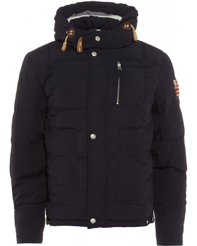 True Religion Jeans Navy Hooded Padded Down Jacket