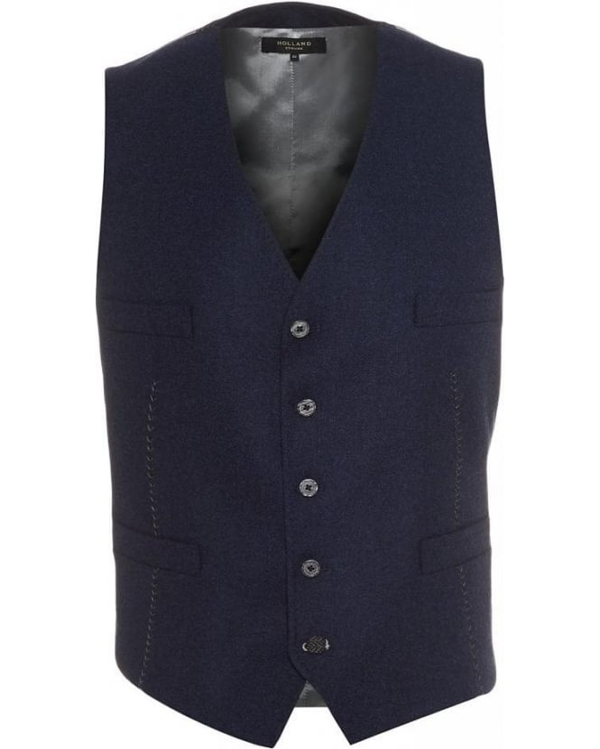 Holland Esquire Navy Lambswool Classic Waistcoat