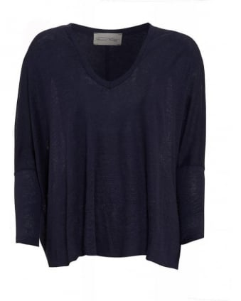 Navy 'Leland' Loose V-Neck Top