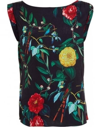 Navy Multi-Coloured Floral Print Sleeveless Top