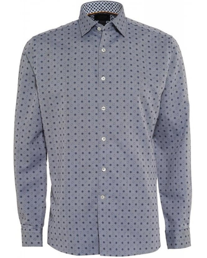 Duchamp Navy Oxford All Over Polka Dot Print Tailored Fit Shirt