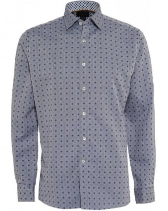 Navy Oxford All Over Polka Dot Print Tailored Fit Shirt
