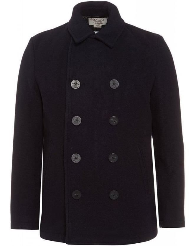 Original Penguin Navy Pea Coat Blue Wool Coat
