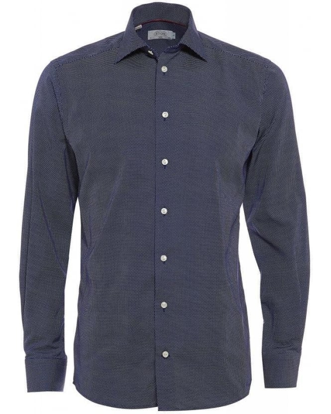 Eton Shirts Navy Polka Dot Slim Fit Shirt