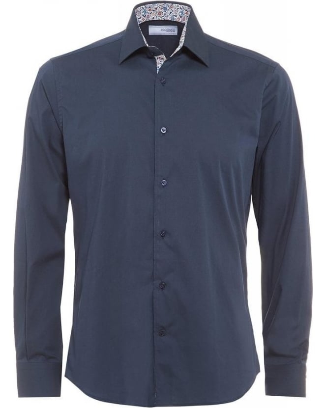 Poggianti Shirts Navy Slim Fit, Liberty Print Trim Shirt