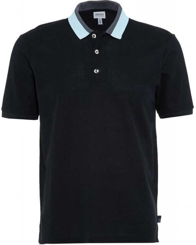 Armani Collezioni Navy Slim Fit Polo With Contrasting Collar Polo Shirt