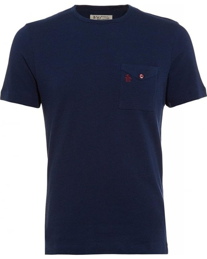 Original Penguin Navy T-shirt, Houndstooth Print Tee