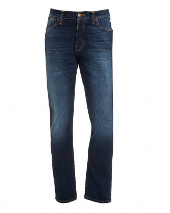Mens Dude Dan Jeans, Dark Fuzz Straight Fit Organic Stretch Denim