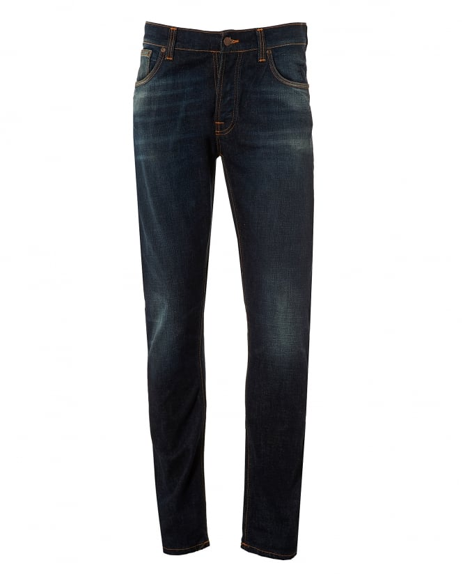 Nudie Jeans Mens Dude Dan Jeans, Midnight Rumble Regular Fit Denim
