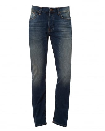 Mens Dude Dan Jeans, Regular Fit Mid Wash Denim