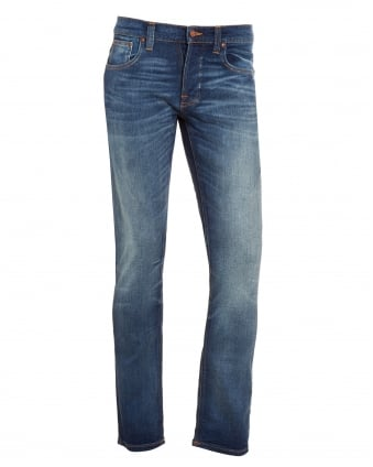 Mens Grim Tim, Dark Crispy Worn Blue Organic Stretch Denim