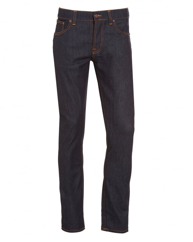 Nudie Jeans Mens Grim Tim, Dry Open Indigo Organic Stretch Denim