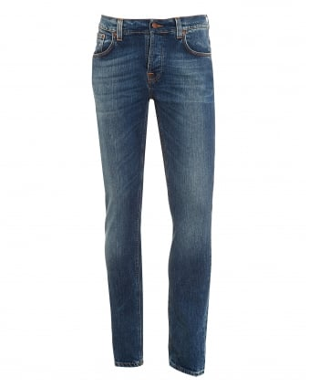 Mens Grim Tim Jean, Shaded Blue Organic Stretch Denim