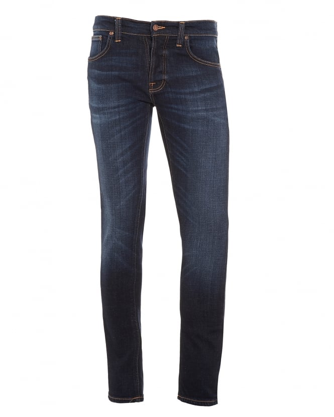nudie jeans mens grim tim jeans dark sparkle blue denim. Black Bedroom Furniture Sets. Home Design Ideas