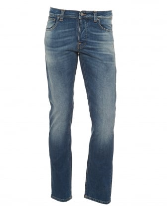 Mens Grim Tim Jeans, Regular Slim Fit Mid Light Blue Denim