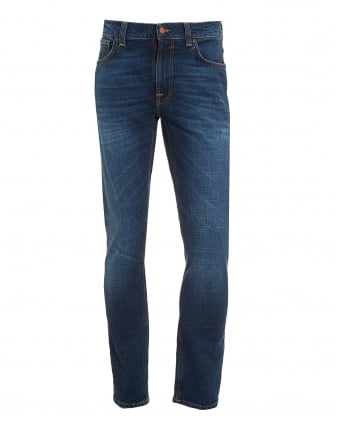 Mens Lean Dean Jean, Dark Worn Navy Slim Fit Organic Stretch Denim