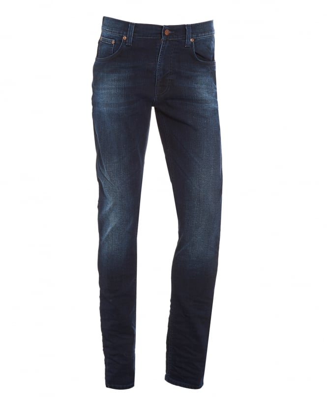Nudie Jeans Mens Lean Dean Jean, Deep Sparkle Slim Fit Organic Stretch Denim