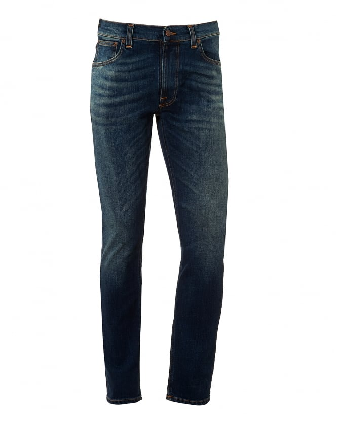 Nudie Jeans Mens Lean Dean Jeans, Crispy Bora Wash Slim Fit Denim