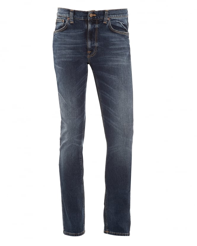Nudie Jeans Mens Lean Dean Jeans, Deep Dark Indigo Blue Denim