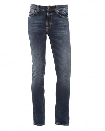 Mens Lean Dean Jeans, Deep Dark Indigo Blue Denim