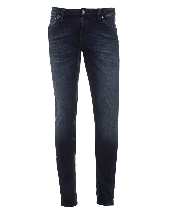 Nudie Jeans Mens Skinny Lin Jeans, Blackened Indigo Blue Denim