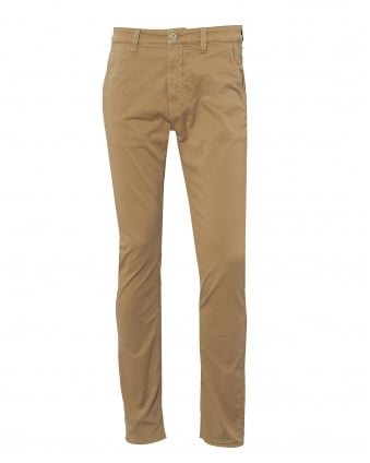 Mens Slim Adam Bunker Chino Jeans, Beige Tapered Trousers