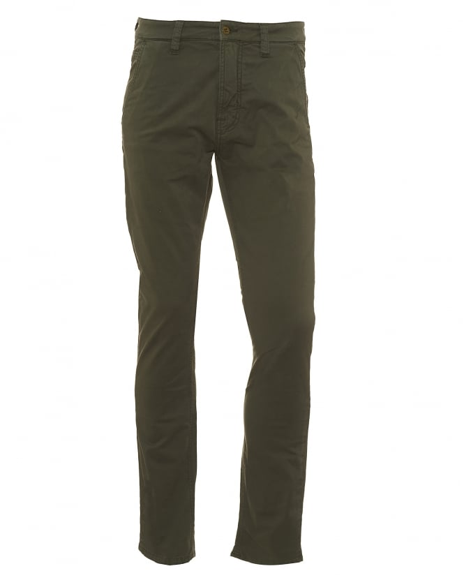 Nudie Jeans Mens Slim Adam Bunker Green Chino Jeans, Olive Tapered Trousers