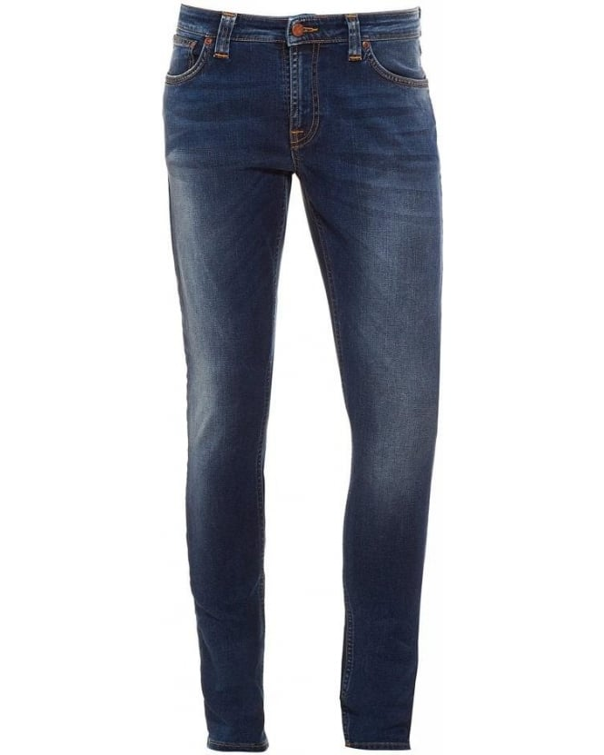 Nudie Jeans Skinny Lin Compact Cloud, Light Wash Stretch Cotton Denim Jeans