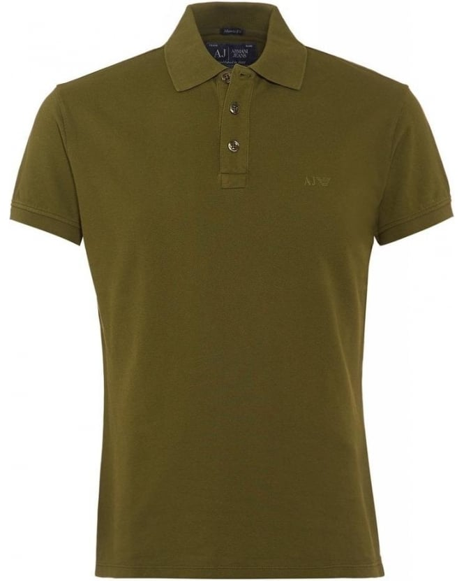 Armani Jeans Olive Green Polo Shirt, Muscle Fit Polo