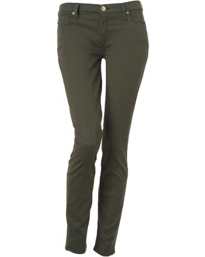 For All Mankind Olive Green, The Skinny Clean Winter Drill Jean