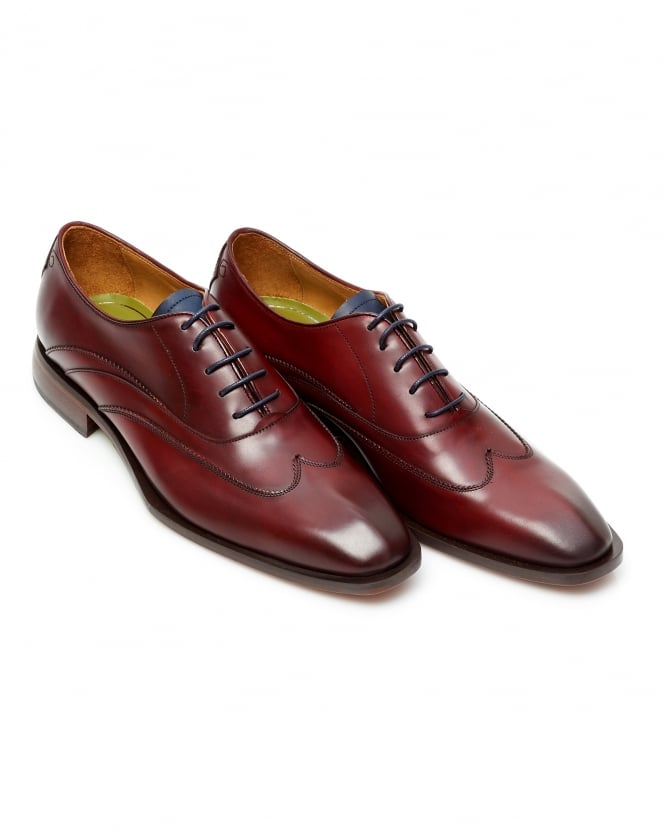 Oliver Sweeney Mens Alassio Wing Tip Oxford Deep Red Leather Shoes