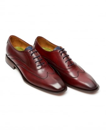 Mens Alassio Wing Tip Oxford Deep Red Leather Shoes