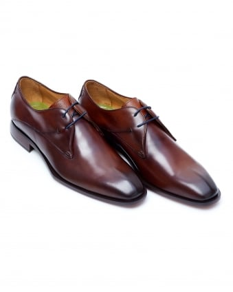Mens Albinia Burnished Derby Cut Dark Tan Leather Shoes