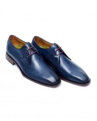 Mens Albinia Burnished Derby Cut Deep Blue Leather Shoes